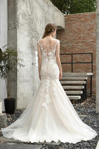 Mermaid Floor Length Lace Tulle Wedding Dresses_11