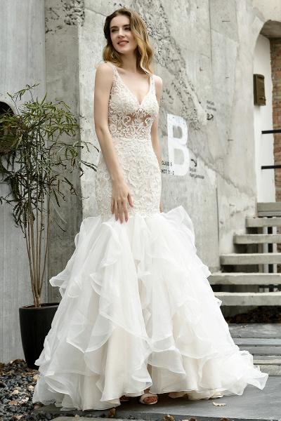 Mermaid V-neck Lace Organza Ruffles Wedding Dress_3