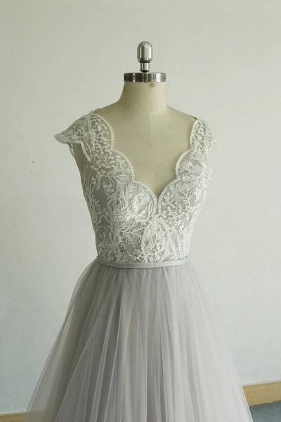 V-neck Cap Sleeve Lace Tulle Wedding Dress_4