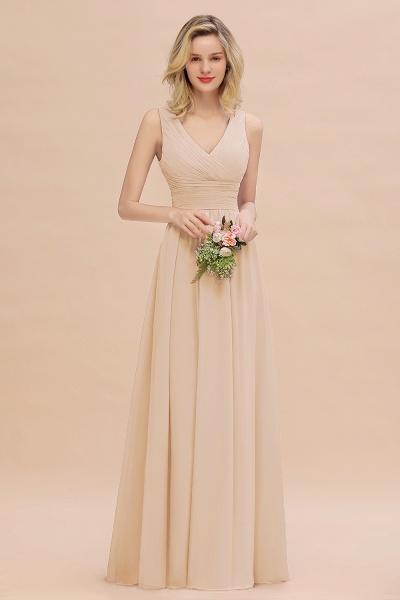BM0752 Elegant A-line V-Neck Ruffles Long Bridesmaid Dress_14