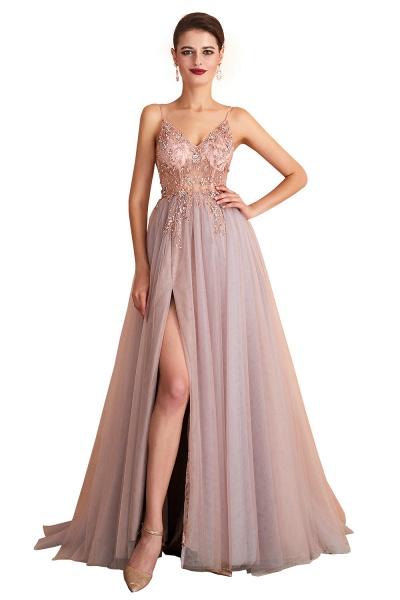Best V-neck Tulle A-line Prom Dress_1