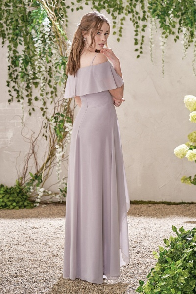 Off The Shoulder Chiffon High Low Bridesmaid Dress_3