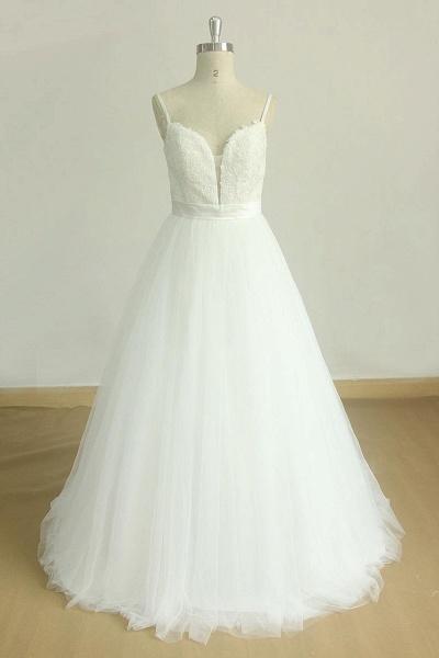 Spaghetti Strap Lace Tulle A-line Wedding Dress_1