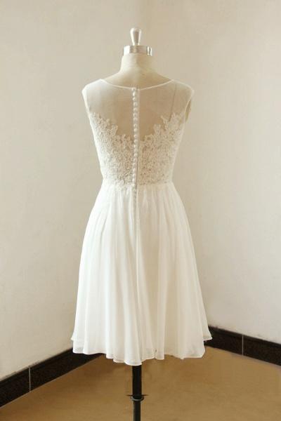 Illusion Lace Chiffon A-line Mini Wedding Dress_3
