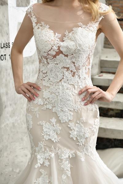 Mermaid Floor Length Lace Tulle Wedding Dresses_12