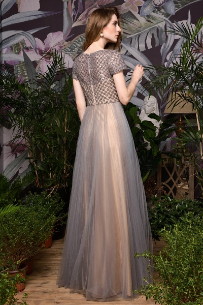 Stunning Short Sleeves Squared Sequined Tulle Prom Dress_11