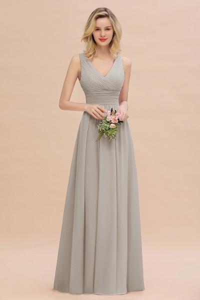BM0752 Elegant A-line V-Neck Ruffles Long Bridesmaid Dress_30