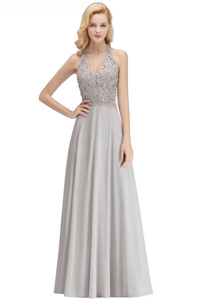 Halter Composite Emulation Silk A-line Floor Length Bridesmaid Dress_20