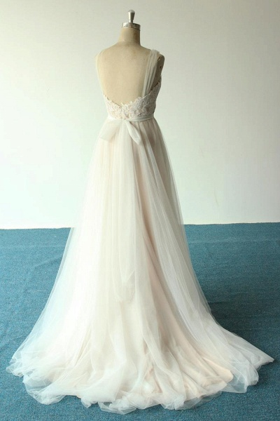 Awesome Illusion Lace Tulle A-line Wedding Dress_3