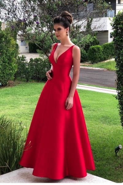 Sleek V-neck Satin A-line Prom Dress_1