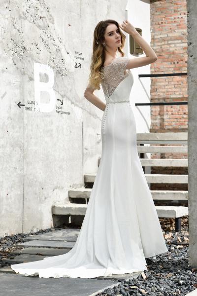 Short Sleeve Lace Mermaid Pearls Wedding Dress With Belt_10