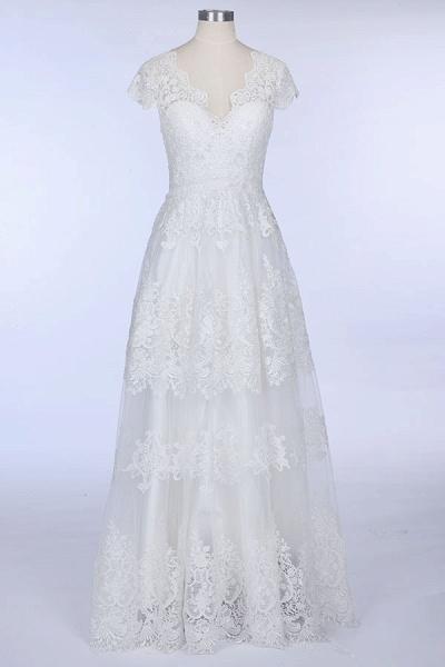 Best Cap Sleeve V-neck Sweep Train Wedding Dress_1