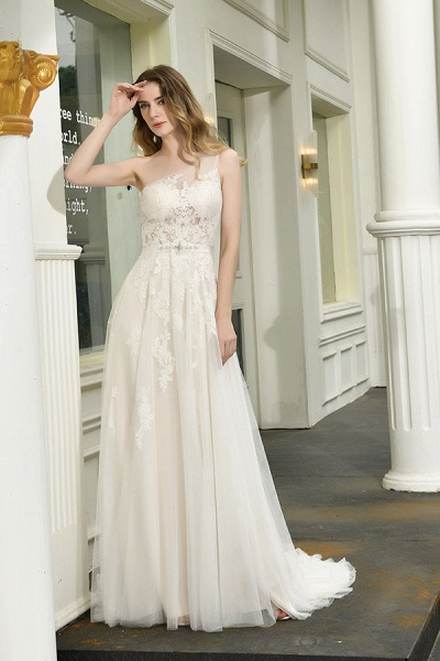 Chic One Shoulder Tulle Lace A-Line Wedding Dress