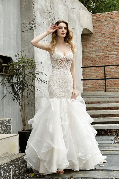 Graceful V-neck Appliques Mermaid Wedding Dress_9
