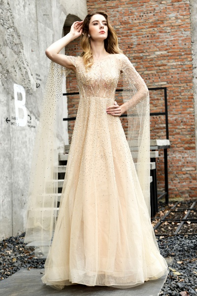 Luxury Shawl Sequined A-line Long Prom Dress_1