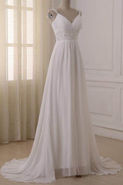 Ruffle V-neck Empire Chiffon A-line Wedding Dress_4