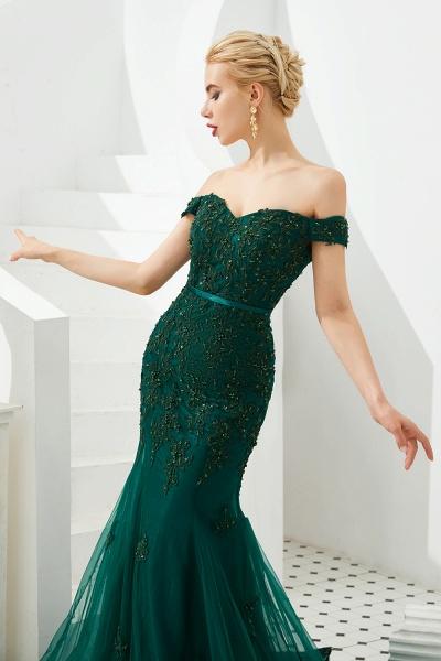 Elegant Off-the-shoulder Tulle Mermaid Prom Dress_8