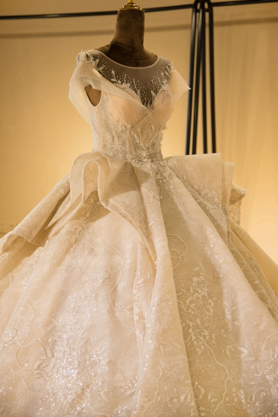 Cap Sleeve Appliques Tulle A-line Wedding Dress_5
