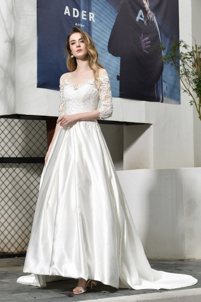Lace Half Sleeves V Neck Sheer Tulle Wedding Dress_5