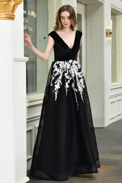 Appliques V-neck Floor Length A-line Prom Dress_6