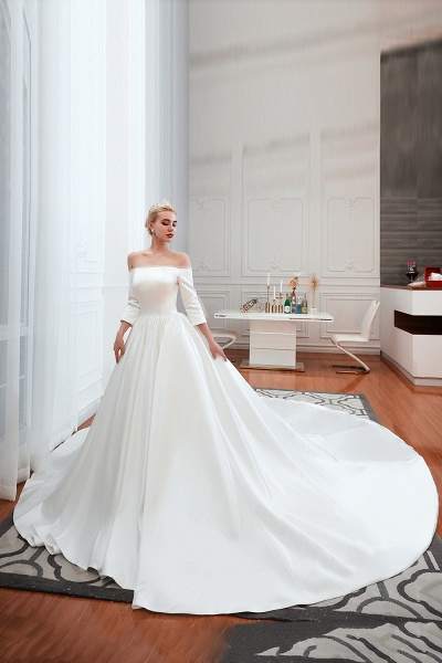 Off Shoulder Lace-up Satin A-line Wedding Dress_1