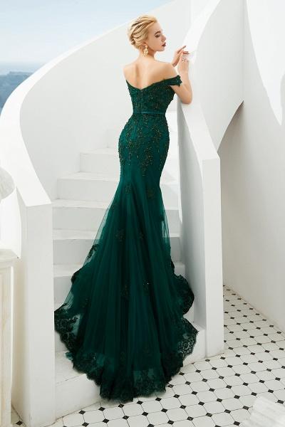 Elegant Off-the-shoulder Tulle Mermaid Prom Dress_4