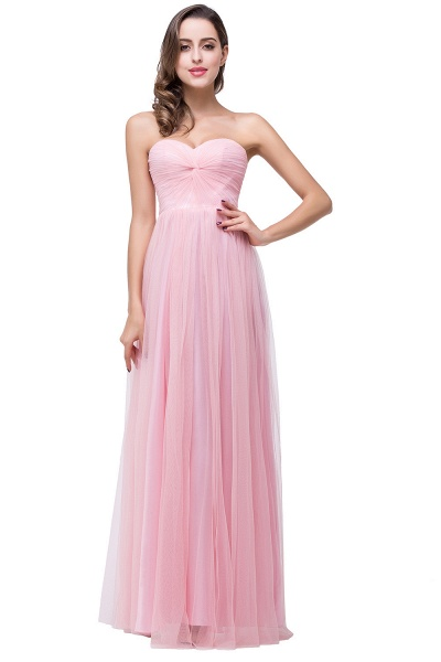 Glorious Strapless Tulle A-line Bridesmaid Dress_1