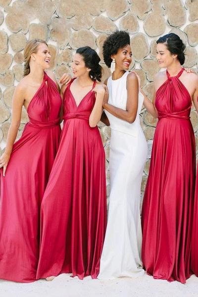 Convertible Open Back Floor Length Bridesmaid Dress_1
