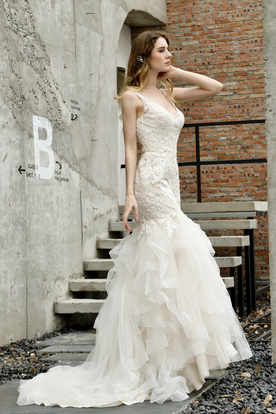 Mermiad Sweetheart Floral Lace Floor Length Wedding Dress_9