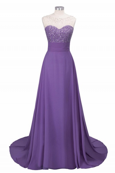Beautiful Jewel Chiffon A-line Evening Dress_2