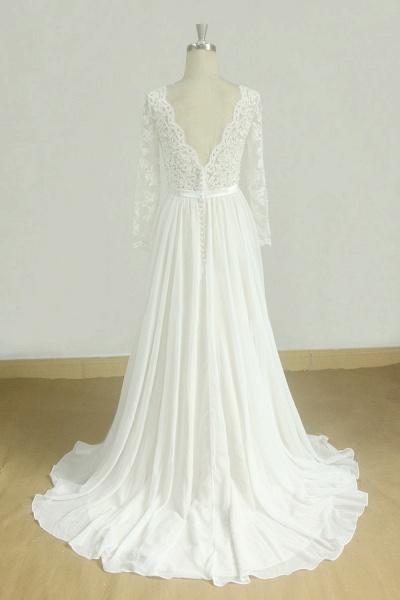 Long Sleeve A-line Lace Chiffon Wedding Dress_3