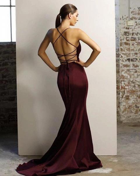 V-neck Emulation Silk Elastic Mermaid Floor Length Bridesmaid Dress_4