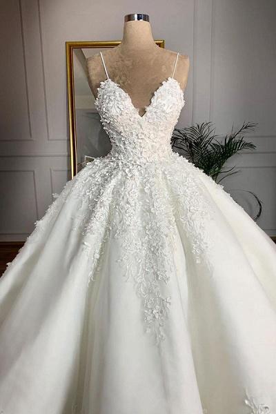 Spaghetti Strap Appliques Satin Wedding Dress_3