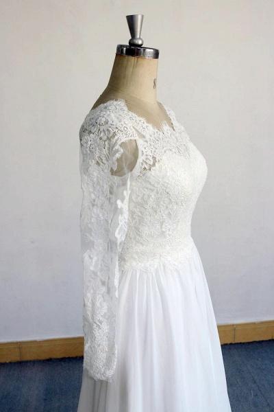 Open Back Long Sleeve Lace Chiffon Wedding Dress_4