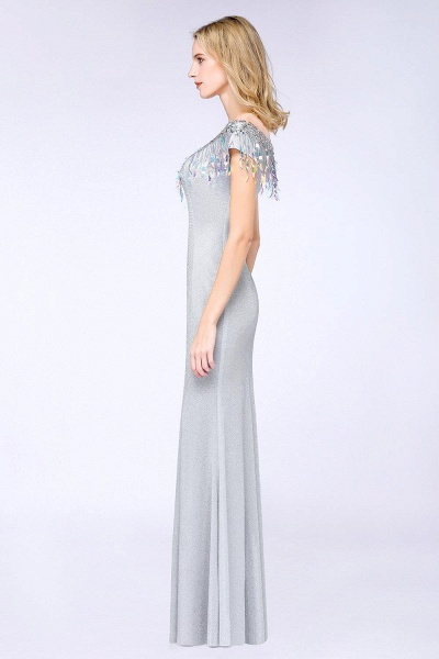 Elegant Jewel Short Sleeves Sequins Evening Dress with Tassels_4
