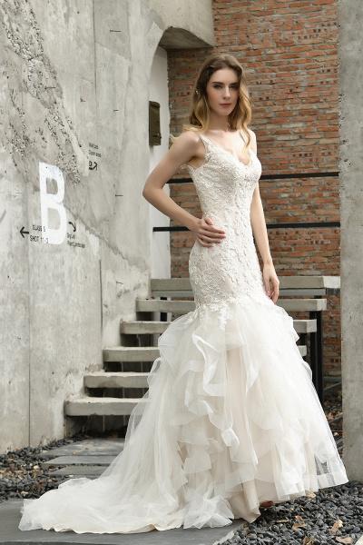 Mermiad Sweetheart Floral Lace Floor Length Wedding Dress_12