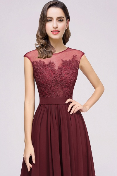 Lace Chiffon Floor-Length A-line Bridesmaid Dress_16