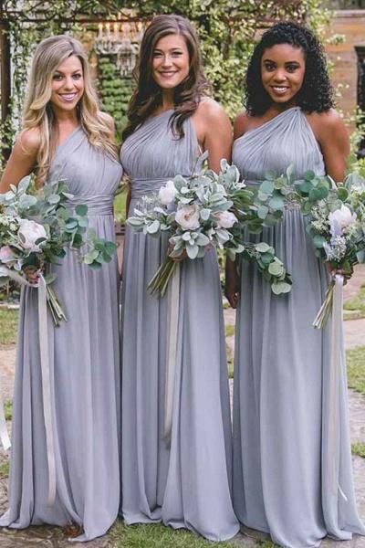Elegant One Shoulder Ruffle Chiffon Bridesmaid Dress_2