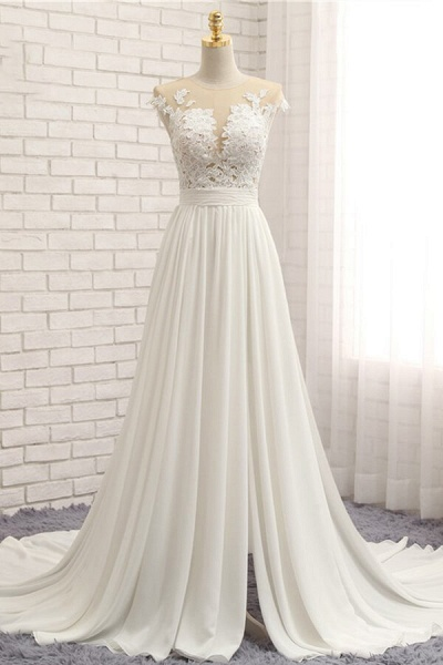Front Slit Appliques Chiffon A-line Wedding Dress