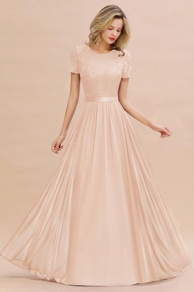 BM0831 Chiffon Lace Scoop Short Sleeve Bridesmaid Dress_5