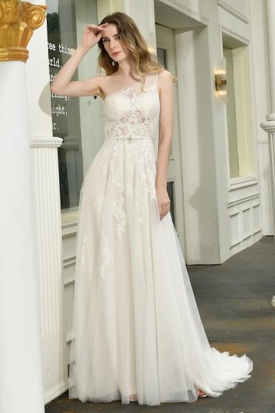 One Shoulder Lace Tulle Backless Wedding Dresses_6