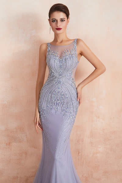 Graceful Jewel Tulle Mermaid Prom Dress_4