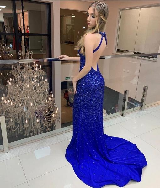 Eye-catching High Neck Satin Column Prom Dress_2