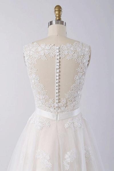 Elegant V-neck A-line Appliques Tulle Wedding Dress_5