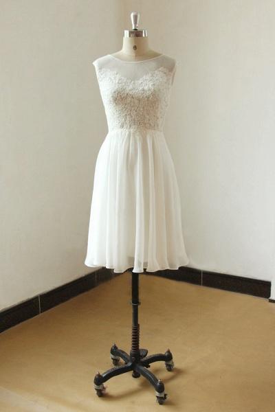 Illusion Lace Chiffon A-line Mini Wedding Dress_1