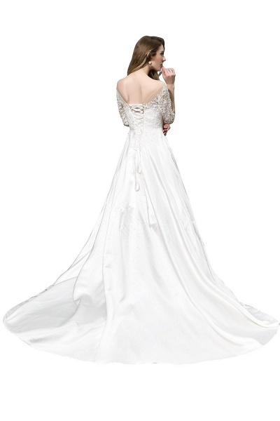 Lace Half Sleeves V Neck Sheer Tulle Wedding Dress_3