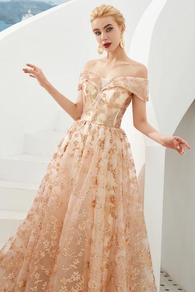 Graceful Off-the-shoulder Tulle A-line Prom Dress_6