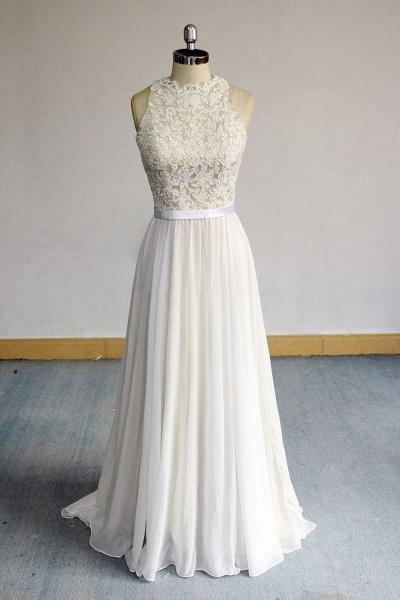 Eye-catching Lace Chiffon A-line Wedding Dress_1