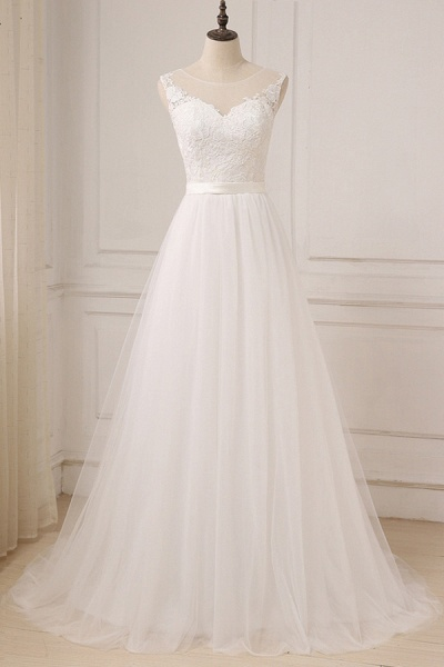 Graceful Lace Tulle A-line Wedding Dress_1