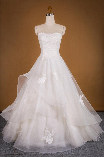 Strapless Lace-up Tulle A-line Wedding Dress_2